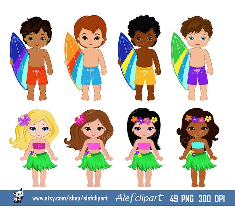 Luau Clipart, Hawaii Clipart, Hula Girl ClipArt , Aloha Clipart, Tiki  Clipart, Digital Clipart Personal and Commercial Use.