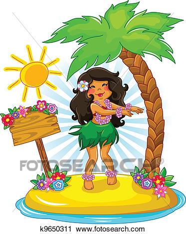 Hula girl Clipart.