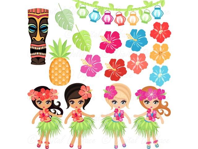 Hula Girl Clipart / Hawaiian Clip Art / Luau Images / Graphics.