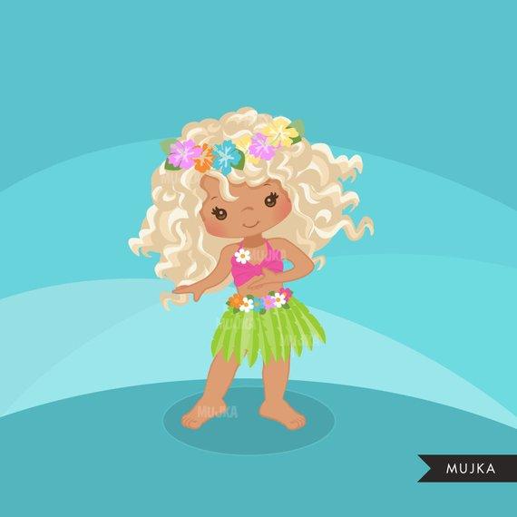 Hawaiian Hula Girls clipart, summer beach graphics, planner stickers.