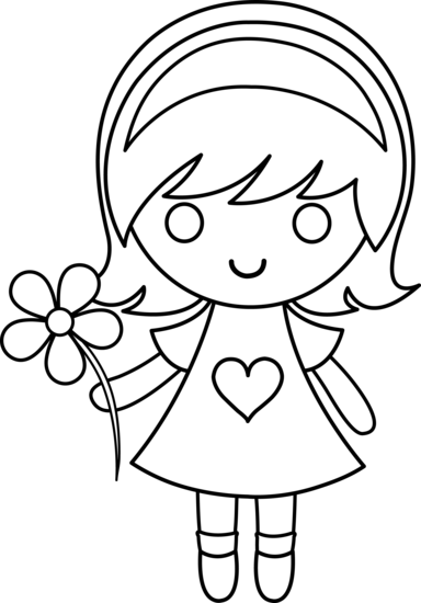 Little Girl Coloring Clipart.