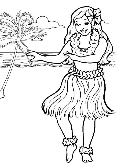 Hula Girl Clipart Little Girl Coloring Clipground