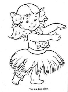 Hula Girl Clipart Baby Coloring.