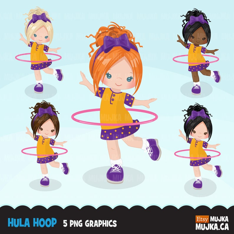 Hula hoop girls Clipart. Outdoors activity, hula hoop graphics  illustration, Commercial use clip art, sports.