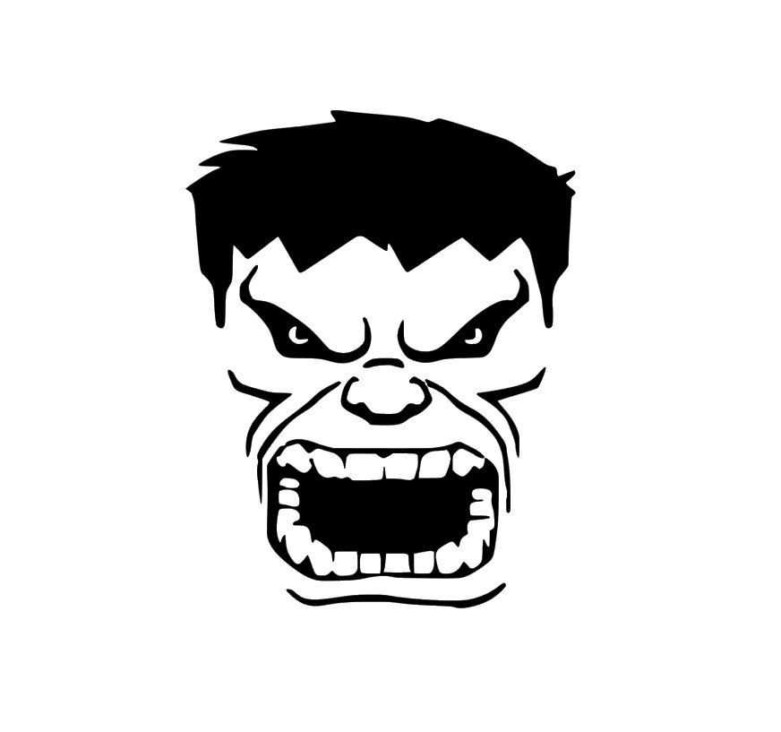 Hulk Face Clipart Black And White.