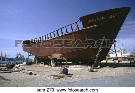 Stock Photography of Ship Hull on Beach for Repairs Venezuela sam.