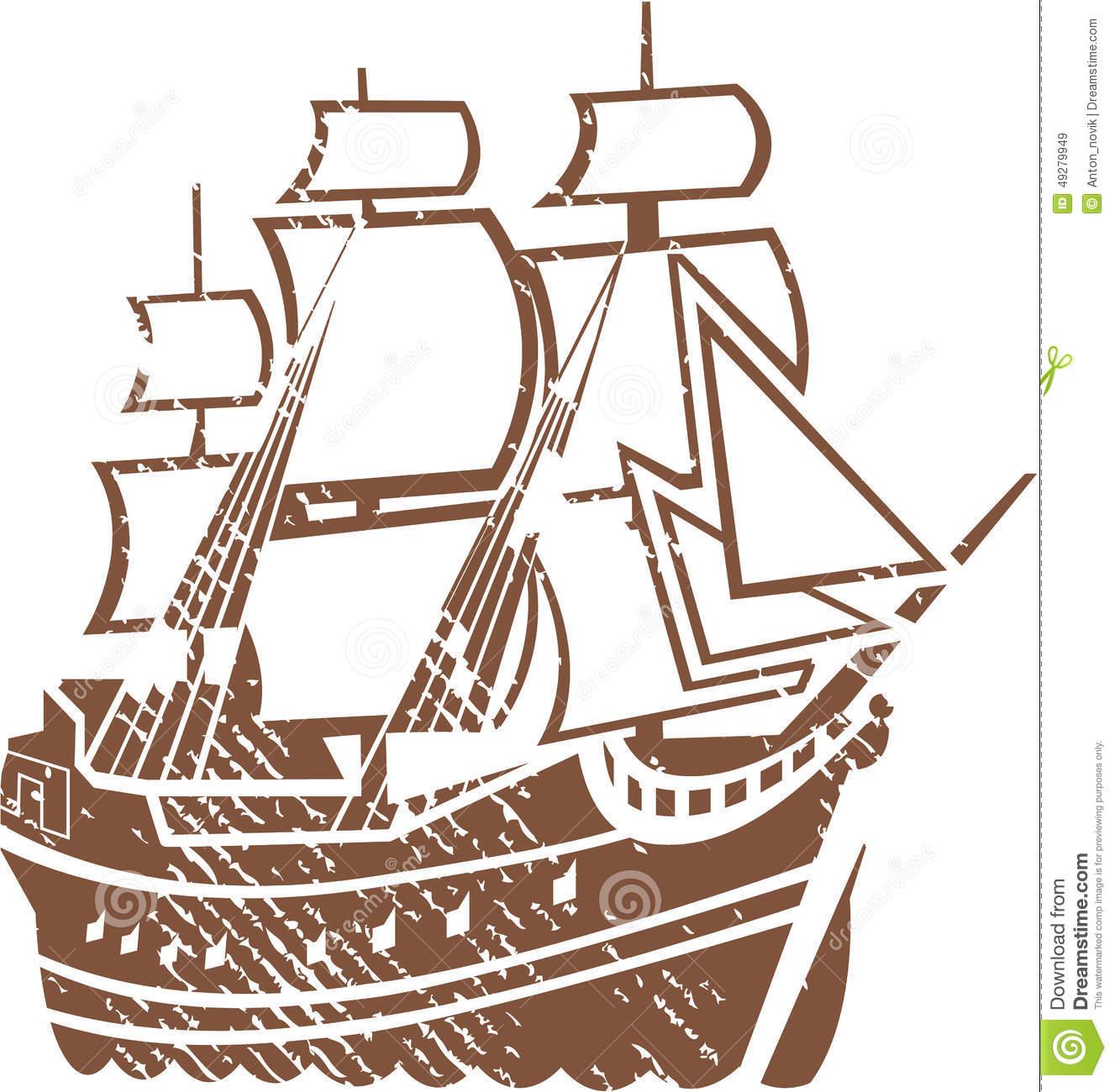 Grunge Vintage Ship Stock Vector.