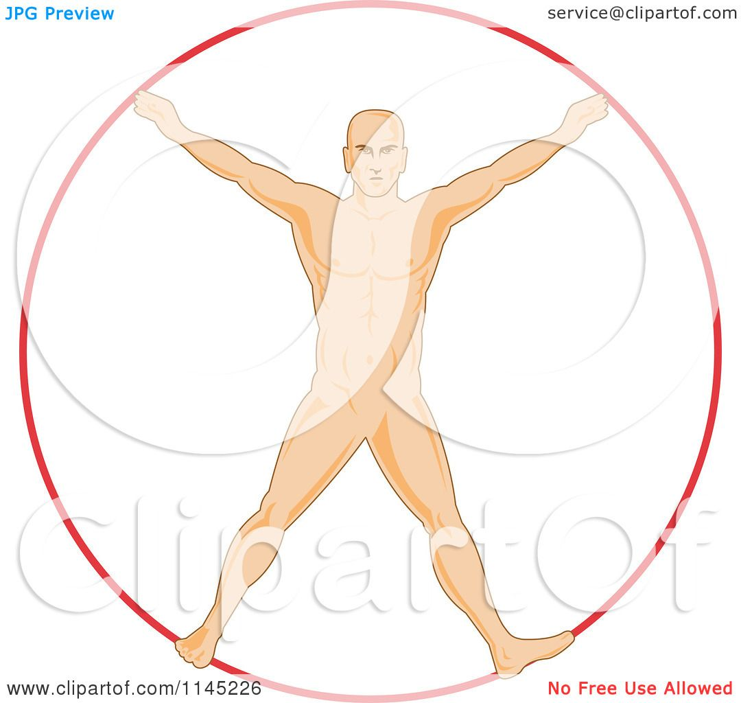 Clipart of a Human Anatomy Man Spread Eagle like Vitruvian Man.