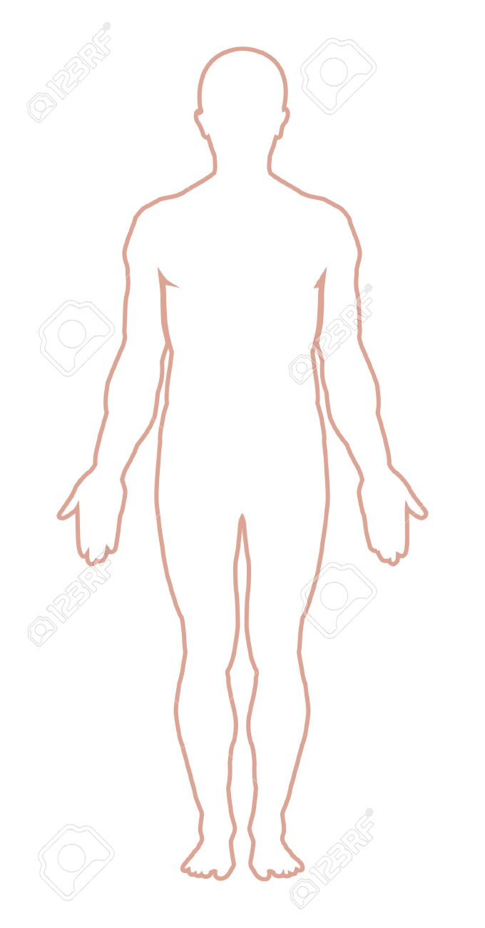 Male Body Outline. Vector Illustration Royalty Free Cliparts.