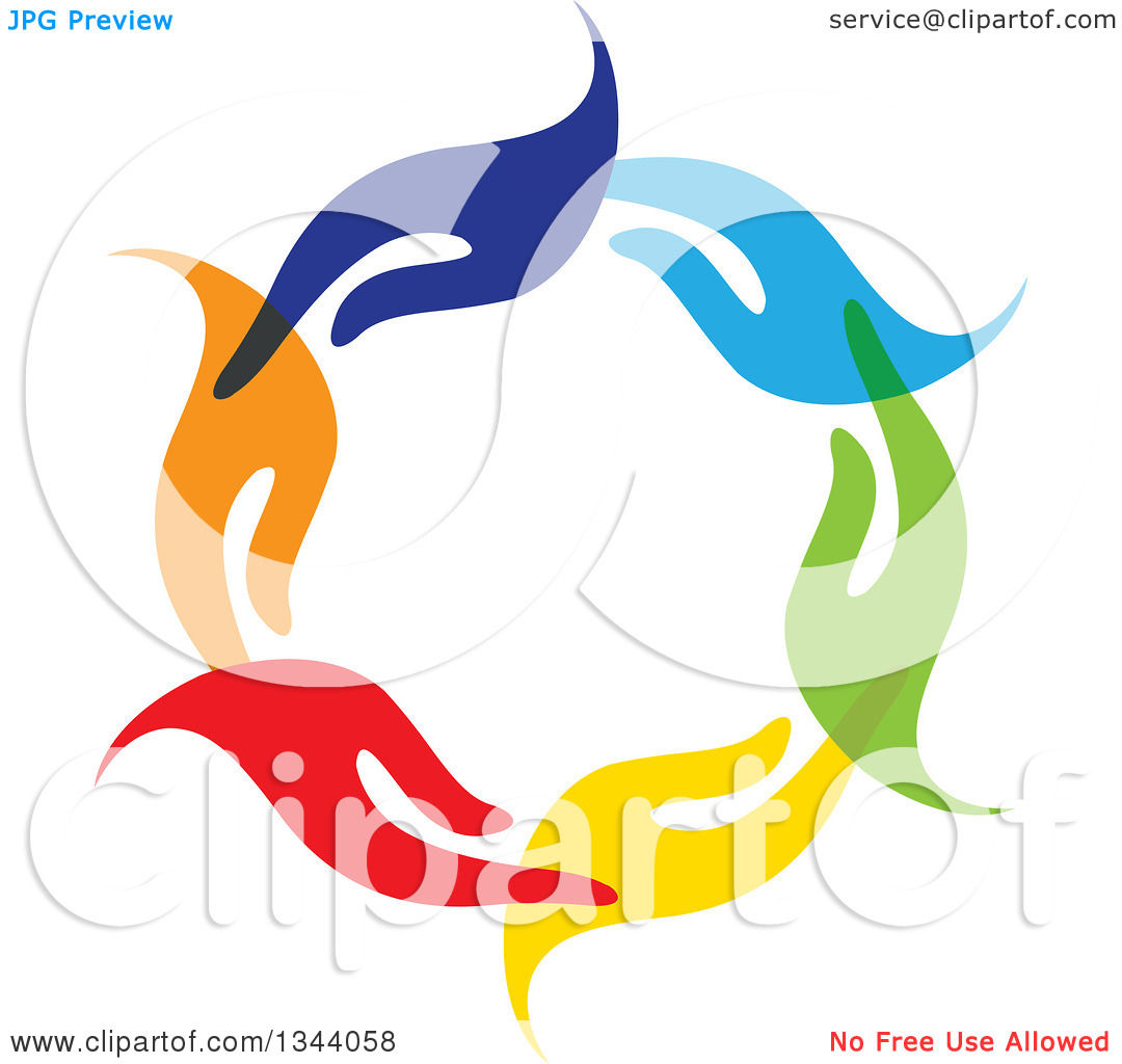 Clipart of a Circle of Colorful Human Hands 4.