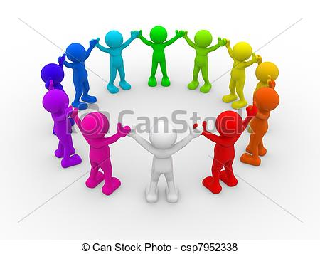 Stock Illustration of 3d human group circle green.