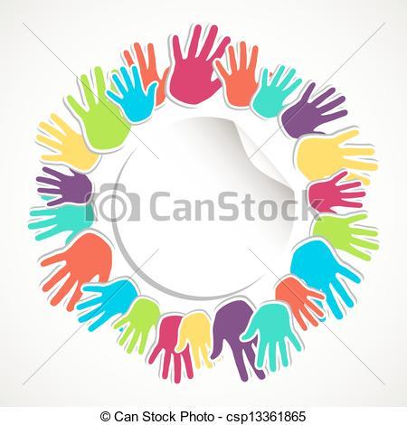 Clip Art Vector of Colorful human hand circle.
