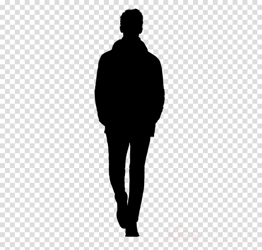 standing black silhouette male human clipart.
