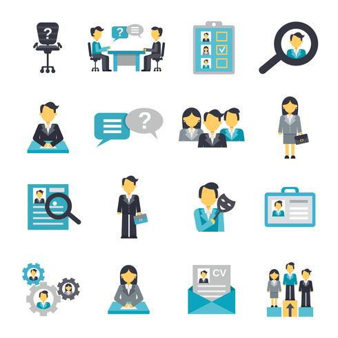 Human Resources Icons Flat.