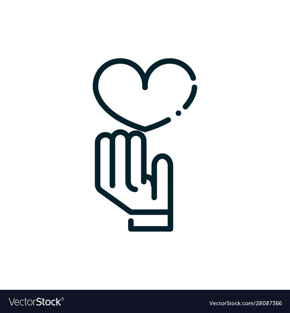 Hand with heart peace and human rights line.