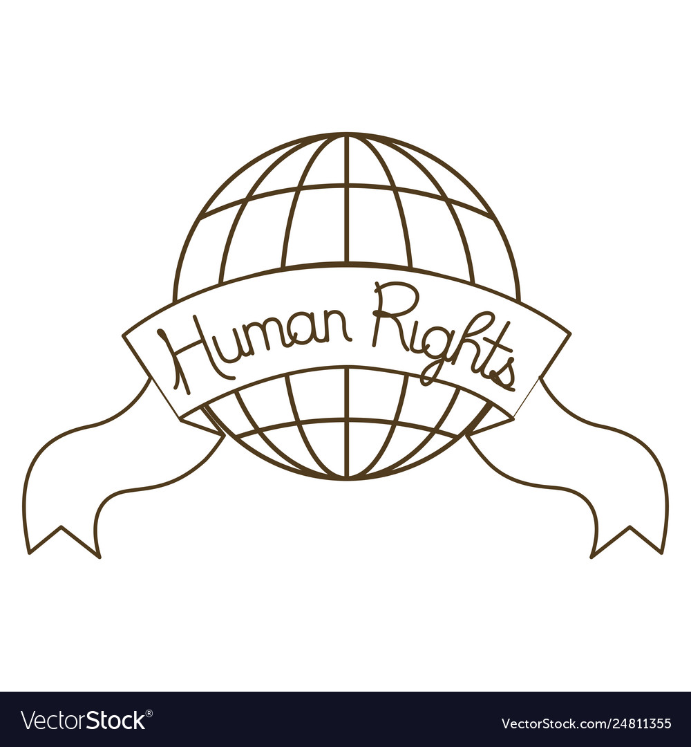 Earth globe with and human rights isolated icon.