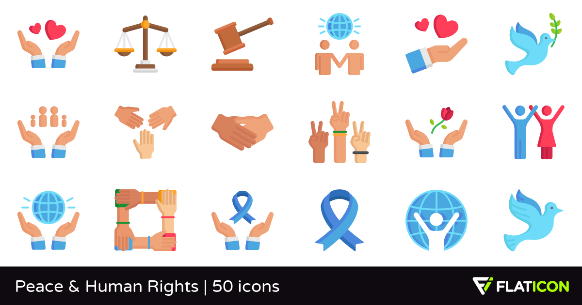 Peace & Human Rights 50 free icons (SVG, EPS, PSD, PNG files).