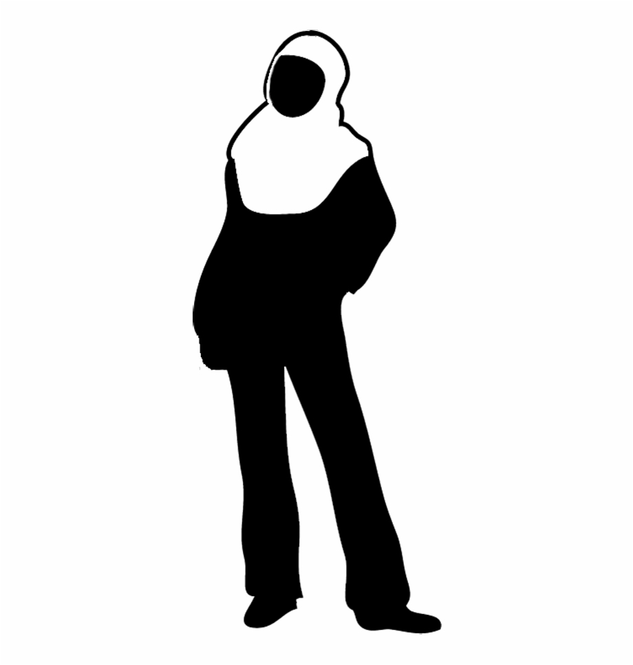 Silhouette Of Standing Woman, Young Female Silhouette.