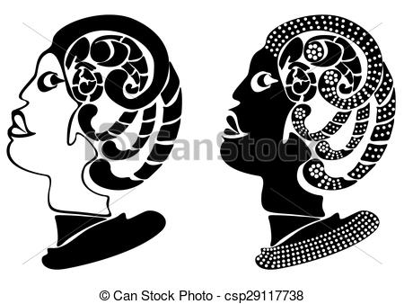 Vectors of Human head and horror snake illustration design.