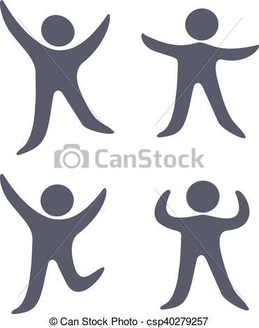 Vector black human symbols.