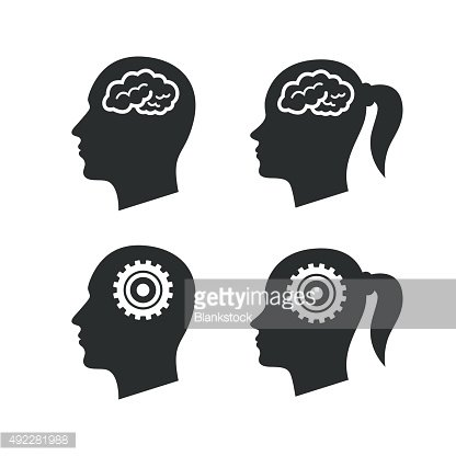 Head with brain icon. Male and female human symbols Clipart.