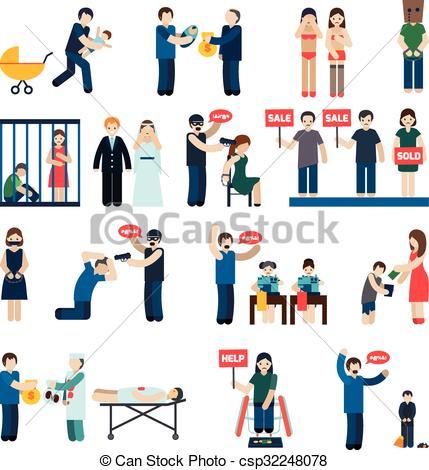 Vectors Illustration of Human Trafficking Flat Icons Set.