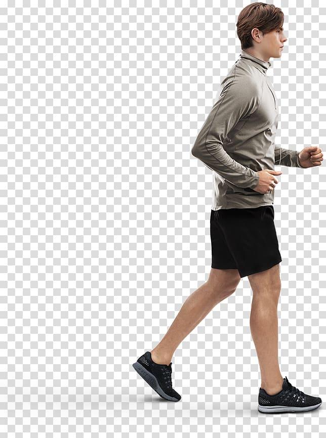 Man in black shorts running, Human Walking Power walking.