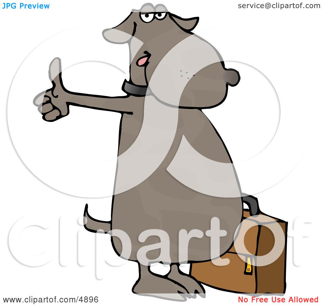 Dog cartoon standing like human clipart.