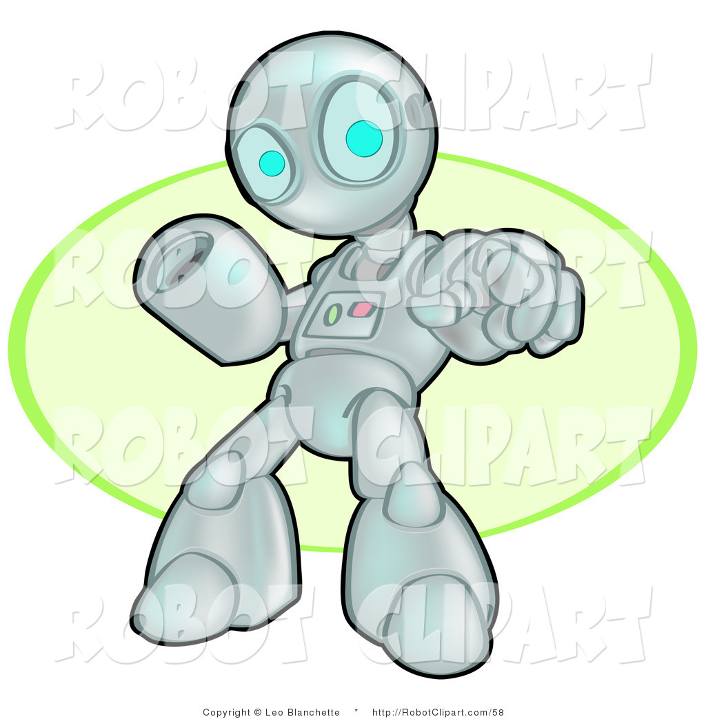 Clipart of a Human like Robot Pointing and Warning You to Stop by.