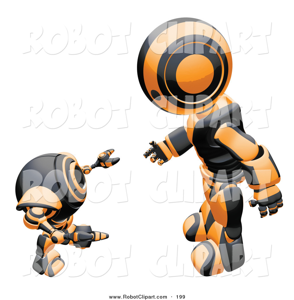 Clipart of a Friendly Black and Orange Humanoid Robot Bending over.