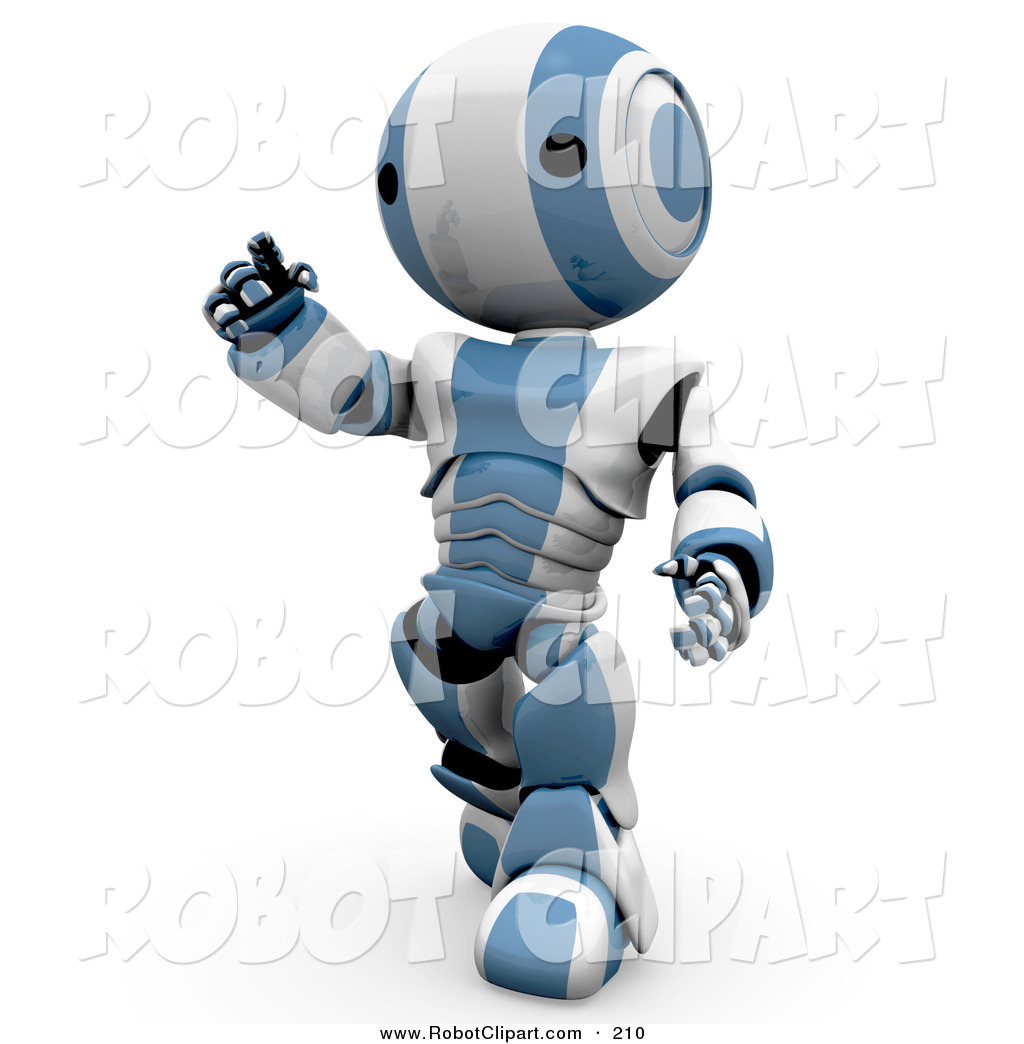 Clipart of a Curious and Friendly Humanoid Blue and White Ao.