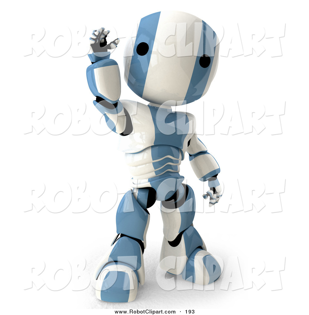 Clipart of a Cute and Friendly Blue and White AO.