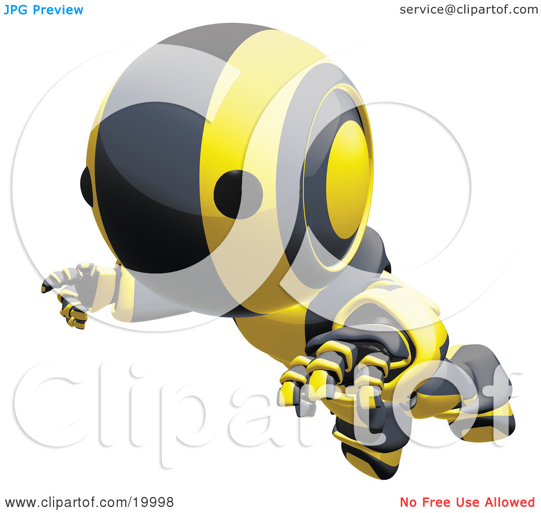 Clipart Illustration of a Clumsy Black And Yellow Ao.