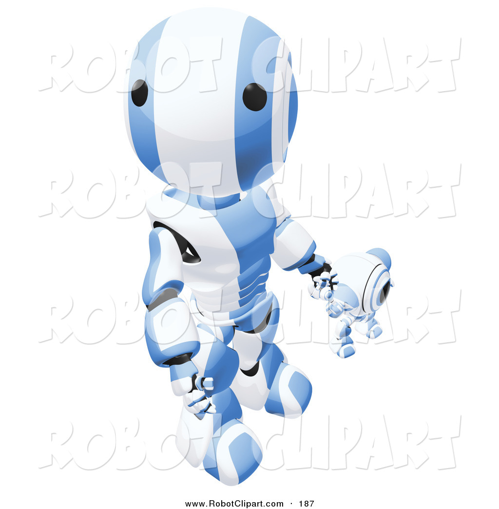 Clipart of a Humanoid Blue and White Ao.