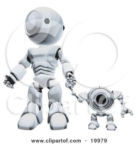 Clipart Illustration of a Silver Webcam Spybot And Humanoid Robot.
