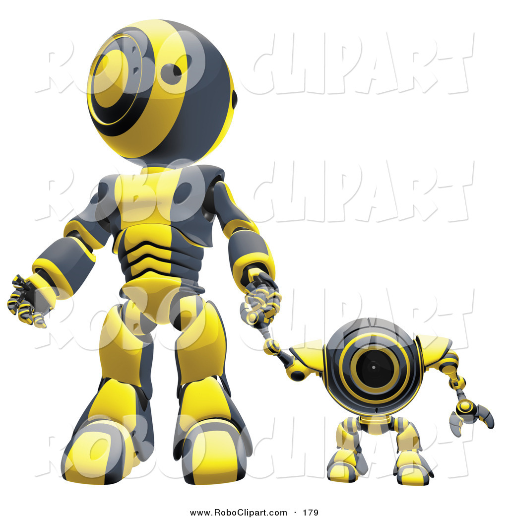 Clip Art of a Happy Black and Yellow Webcam Spybot and Humanoid.