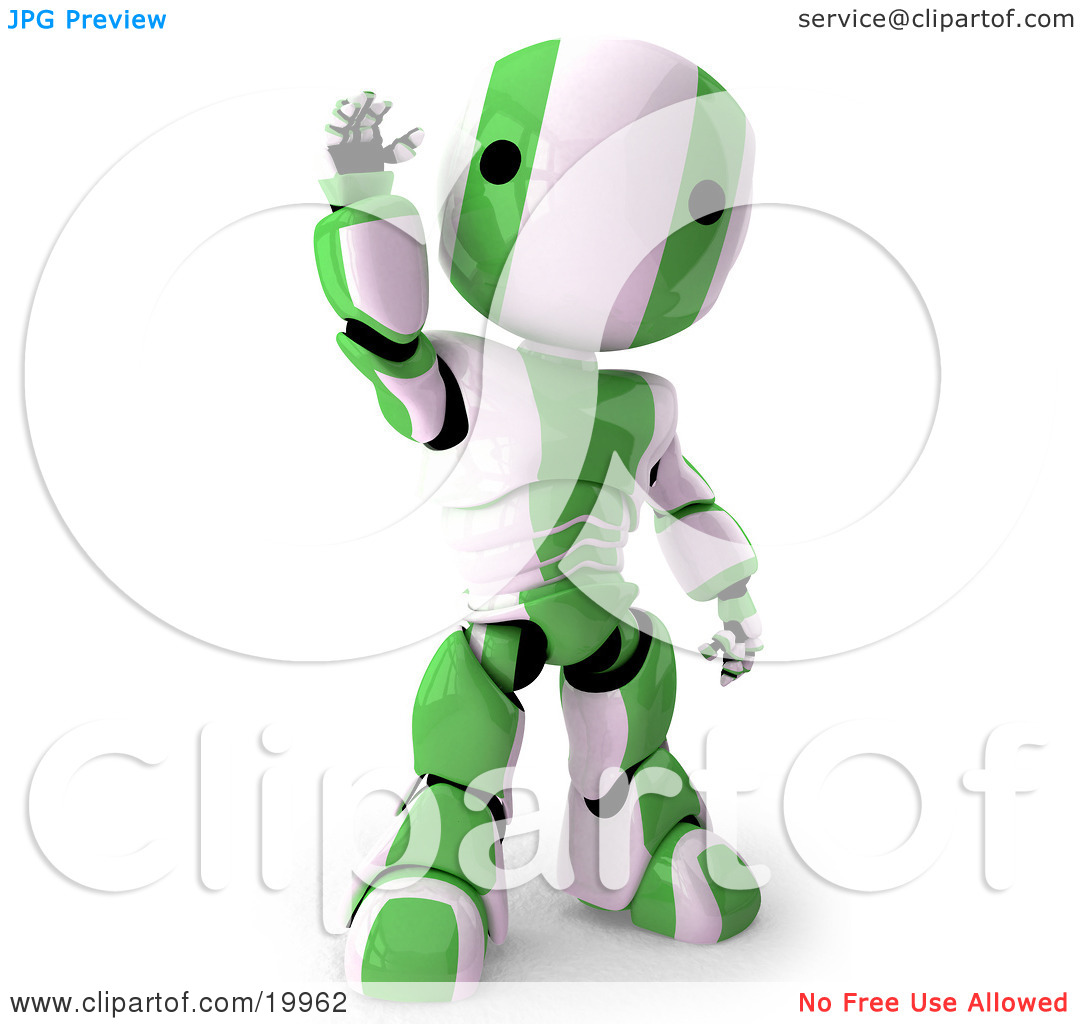 Clipart Illustration of a Friendly Green And White AO.