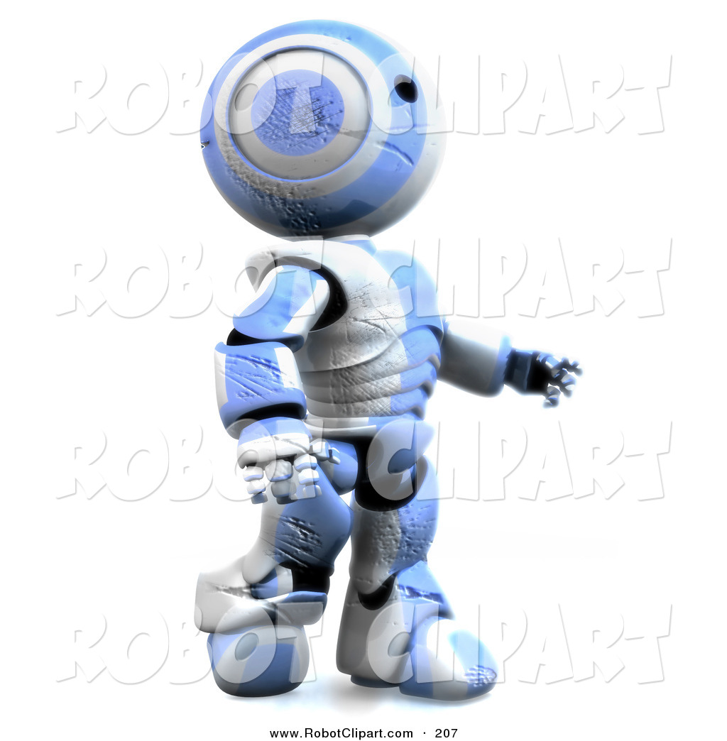 Clipart of a Friendly Humanoid Blue and White Ao.