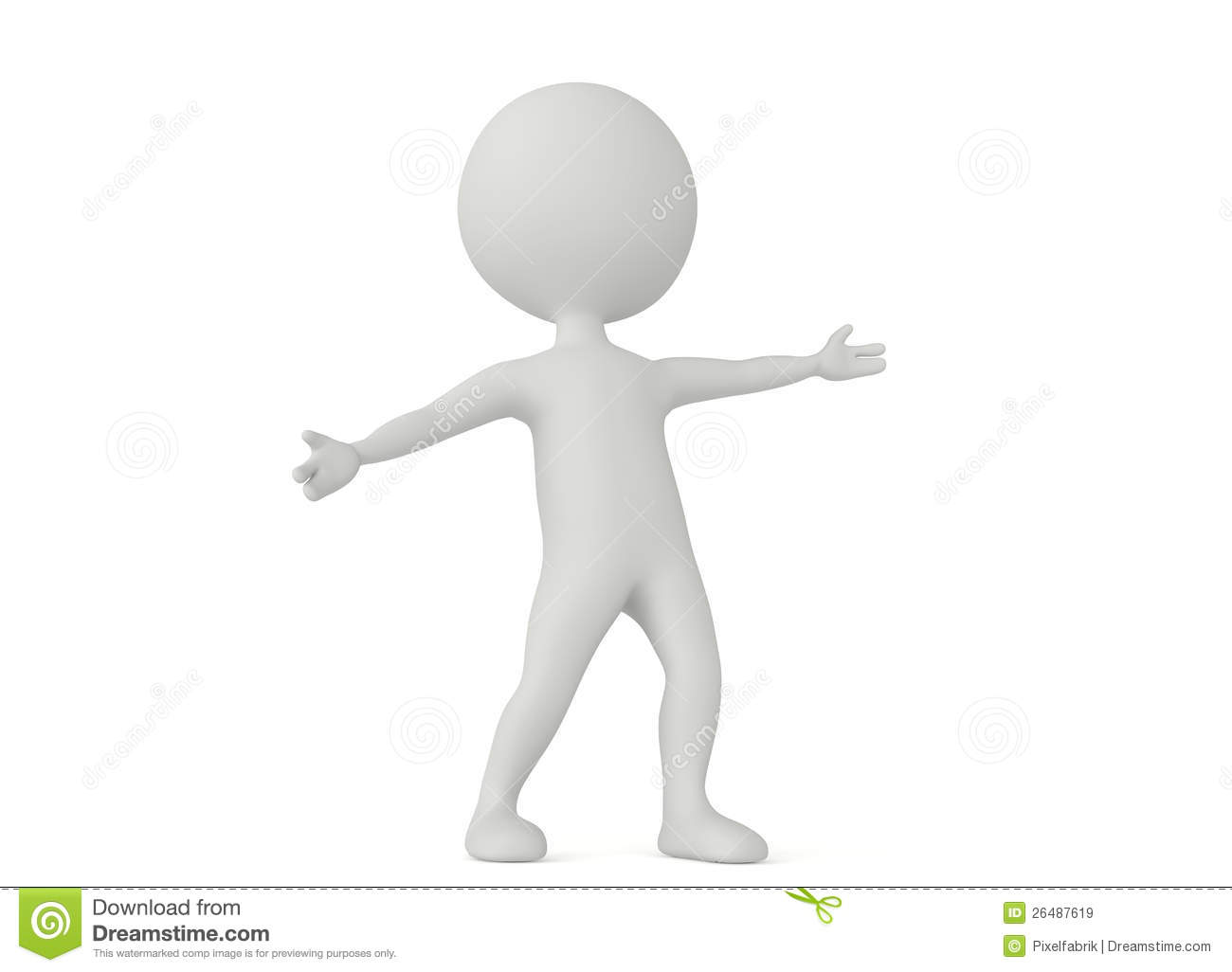 3d Humanoid Character Make A Welcome Pose Royalty Free Stock.