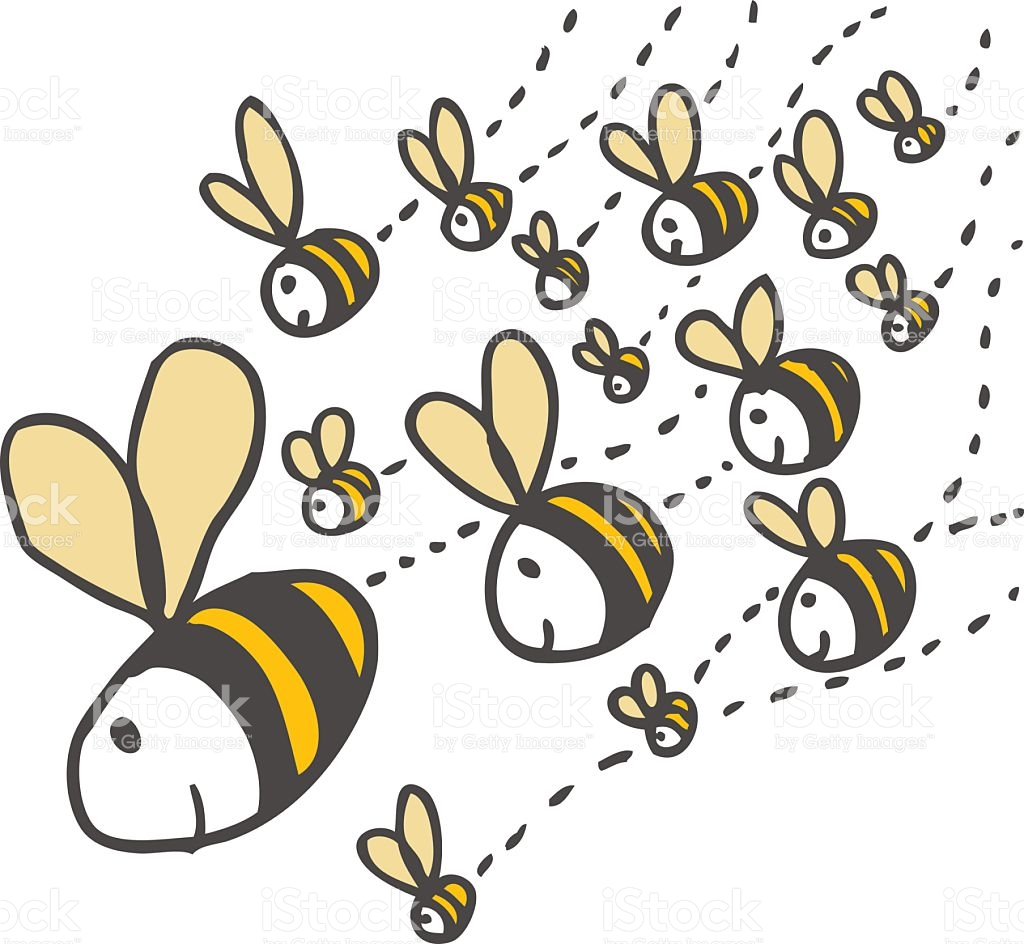 Swarm Of Bees Vektor Illustration 121400126.