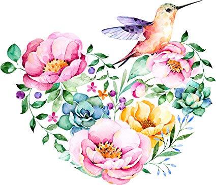 Pretty Watercolor Flower Hummingbird Heart Cartoon Vinyl Decal Sticker (8\