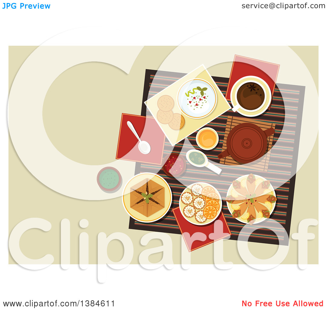 Clipart of a Table Setting of Arabic Cuisine with Chickpea.