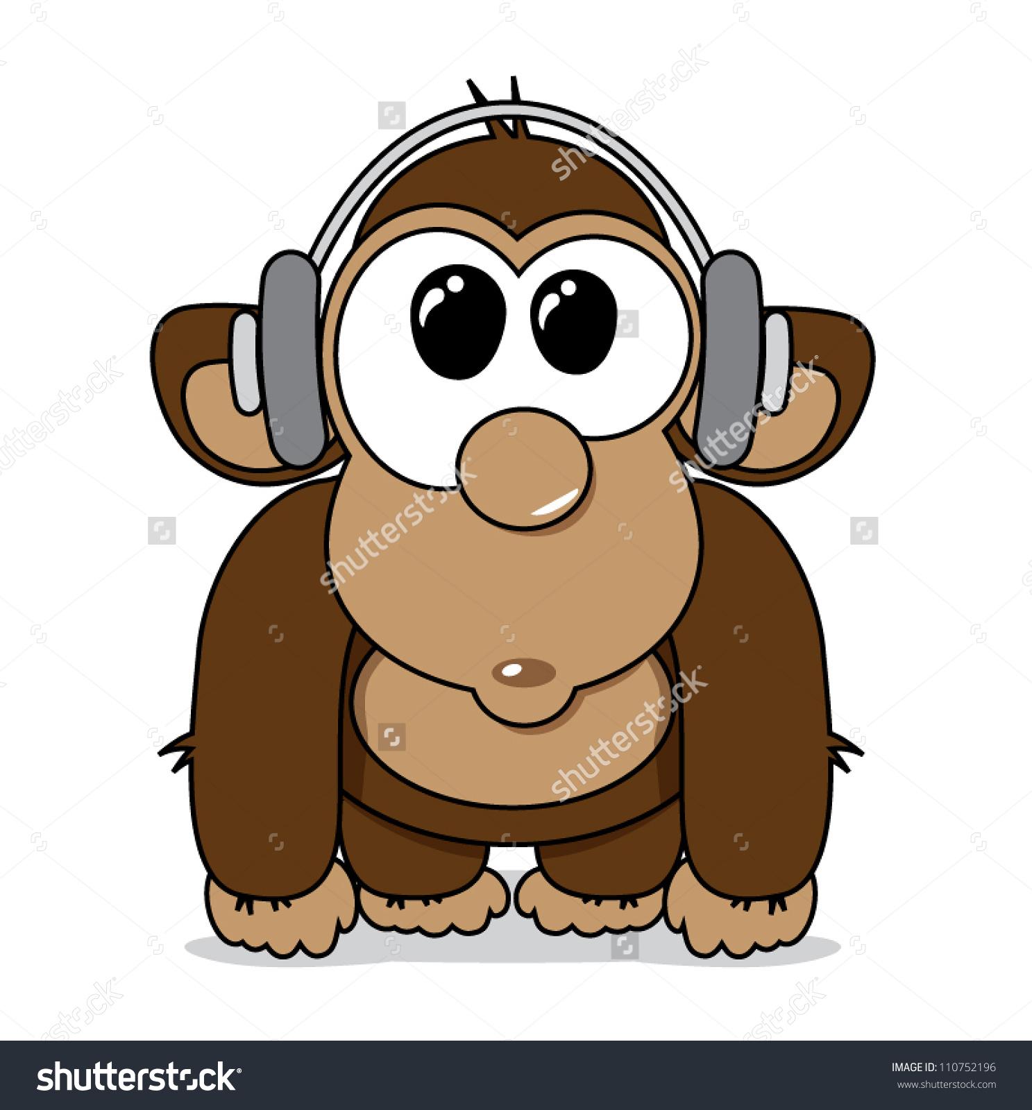 Funny Cartoon Monkey Headphones Listening Music Stock Vector.