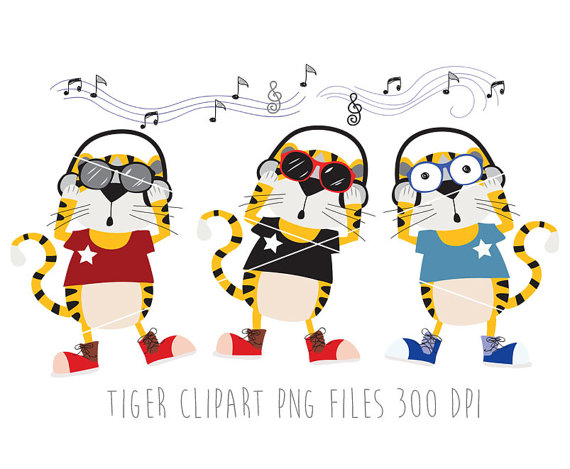 Tiger Clipart ,Animals clipart, music clipart , Instant Download.