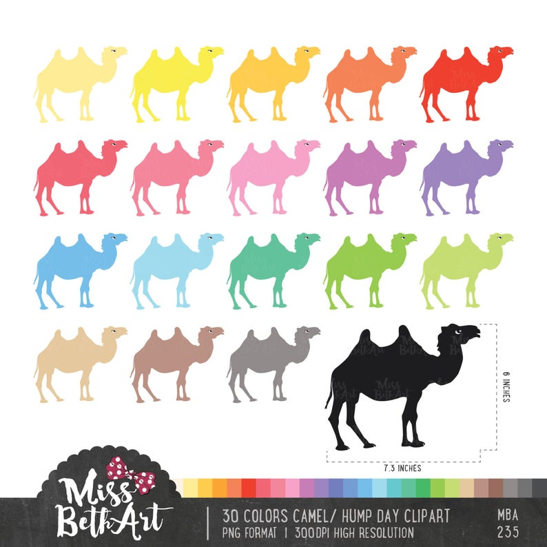 30 Colors Camel / Happy Hump Day Clipart.