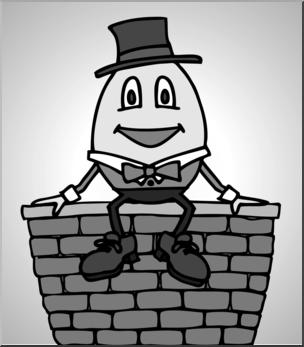 Clip Art: Humpty Dumpty Grayscale I abcteach.com.
