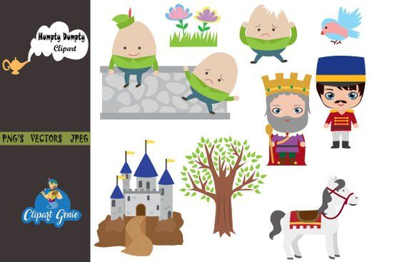 Humpty Dumpty clipart, Nursery rhyme, kids clipart, school.
