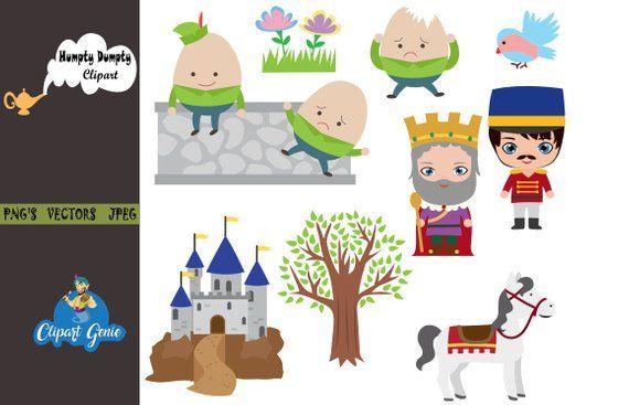 Humpty Dumpty clipart, Nursery rhyme, kids clipart, school.