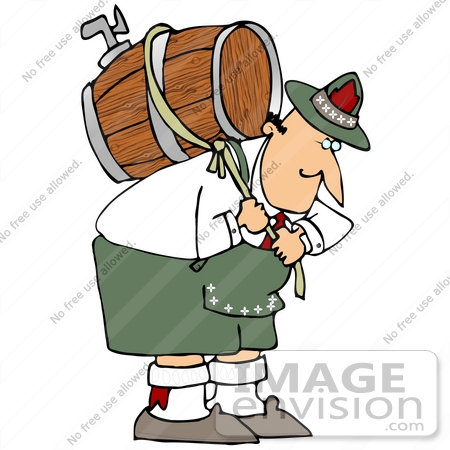 Clip Art Graphic of a Hunched Over Oktoberfest Man Pulling On A.