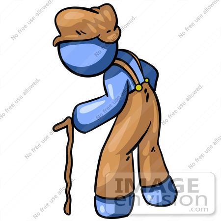 Clip Art Graphic of a Blue Guy Character Aging, Hunched Over And.